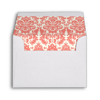 Coral Pink and Ivory Elegant Damask Pattern Envelope