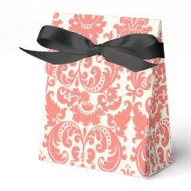 Coral Pink and Ivory Elegant Damask Pattern Favor Box
