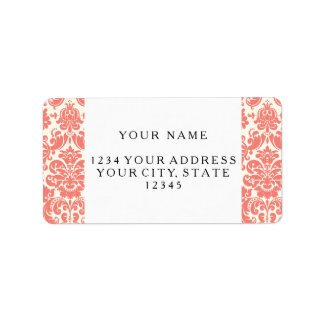 Coral Pink and Ivory Elegant Damask Pattern Label