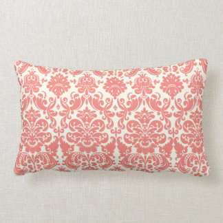 Coral Pink and Ivory Elegant Damask Pattern Lumbar Pillow