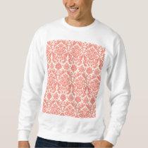 Coral Pink and Ivory Elegant Damask Pattern Sweatshirt