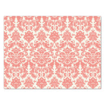 Coral Pink and Ivory Elegant Damask Pattern Tissue Paper