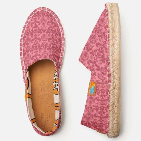 Coral pink and maroon damask pattern espadrilles