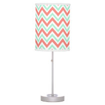 Coral Pink and Mint Green Chevron Pattern Desk Lamp