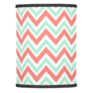 Coral Pink and Mint Green Chevron Pattern Lamp Shade