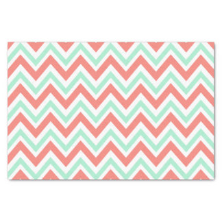 Coral Pink and Mint Green Chevron Pattern Tissue Paper