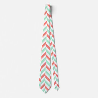 Coral Pink and Mint Green Herringbone Pattern Neck Tie