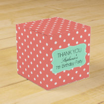 Coral Pink and Mint Green Polka Dot Birthday Party Favor Box
