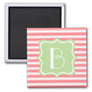 Coral Pink and Mint Green Stripe Monogram Magnet
