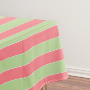 Coral Pink And Mint Green Stripe Tablecloth