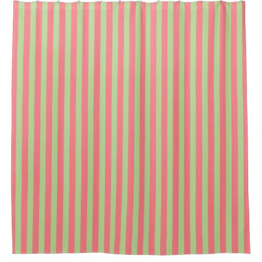 Coral Pink And Mint Green Stripes Shower Curtain