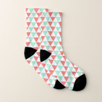Coral Pink and Mint Green Triangle Pattern Socks