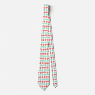 Coral Pink and Mint Houndstooth Pattern Neck Tie