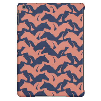 Coral Pink and Navy Blue Horse Herd Pattern iPad Air Cover