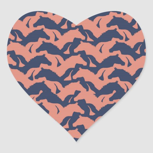Coral Pink and Navy Blue Horse Herd Pattern Heart Sticker