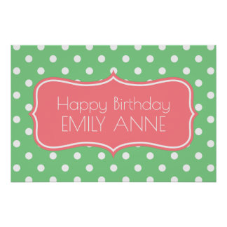 Coral Pink and Sea Green Polka Dot Personalized Poster
