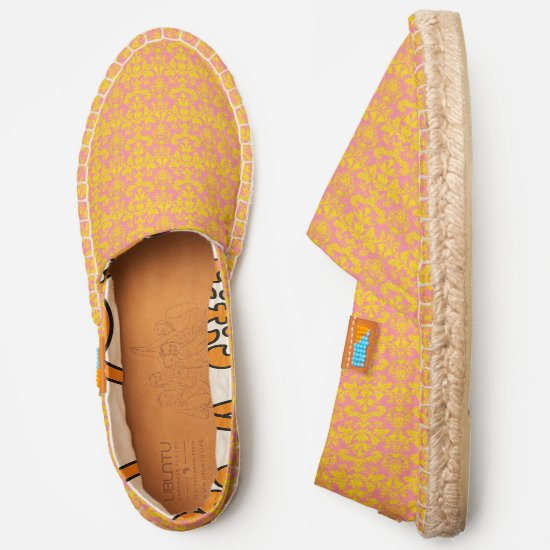 Coral pink and sunflower yellow damask pattern espadrilles