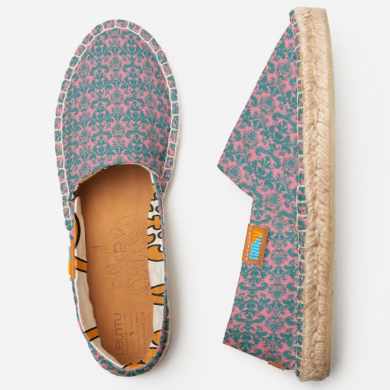 Coral pink and teal damask pattern espadrilles