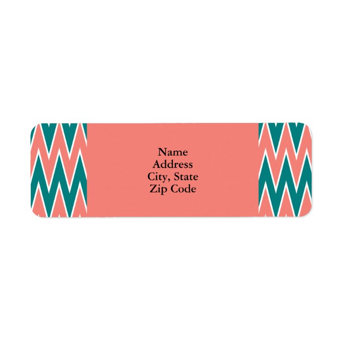 Coral Pink and Teal Zigzag Pattern Label