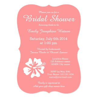 """Coral pink and white bridal shower invitations 5"""" x 7"""" invitation card"""