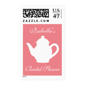 Coral pink and white bridal shower tea party stamp