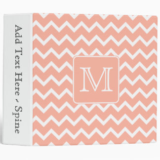 Coral Pink and White Chevron with Custom Monogram. 3 Ring Binder