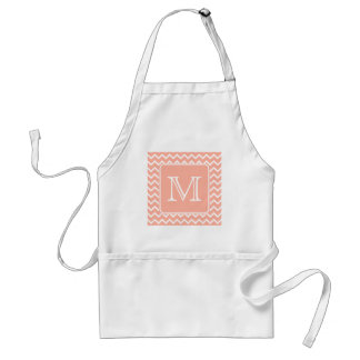 Coral Pink and White Chevron with Custom Monogram. Adult Apron