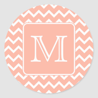 Coral Pink and White Chevron with Custom Monogram. Classic Round Sticker