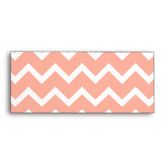 Coral Pink and White Chevron with Custom Monogram. Envelope