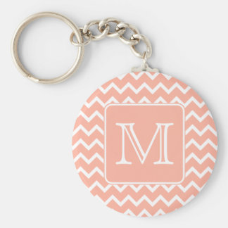Coral Pink and White Chevron with Custom Monogram. Keychain