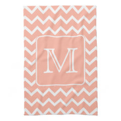 Coral Pink and White Chevron with Custom Monogram. Towels