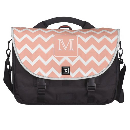 Coral Pink and White Chevron with Custom Monogram. Laptop Messenger Bag