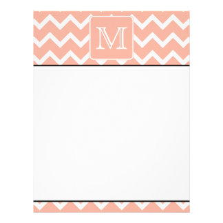 Coral Pink and White Chevron with Custom Monogram. Letterhead