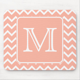 Coral Pink and White Chevron with Custom Monogram. Mouse Pad