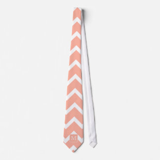 Coral Pink and White Chevron with Custom Monogram. Neck Tie