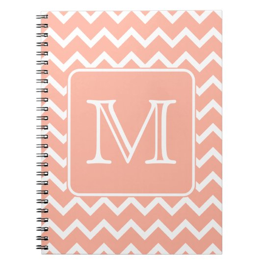Coral Pink and White Chevron with Custom Monogram. Notebook