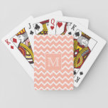 Coral Pink and White Chevron with Custom Monogram. Poker Cards
