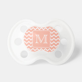 Coral Pink and White Chevron with Custom Monogram Pacifier