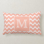 Coral Pink and White Chevron with Custom Monogram. Throw Pillow