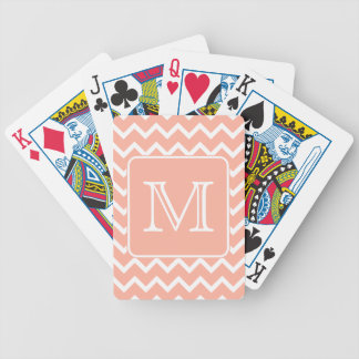 Coral Pink and White Chevron with Custom Monogram Bicycle Poker Deck