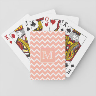 Coral Pink and White Chevron with Custom Monogram. Poker Deck