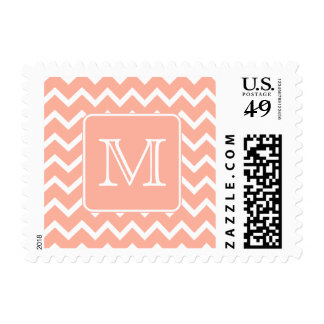 Coral Pink and White Chevron with Custom Monogram. Postage