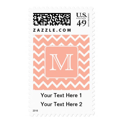 Coral Pink and White Chevron with Custom Monogram. Postage Stamps