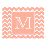 Coral Pink and White Chevron with Custom Monogram. Postcard