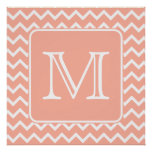 Coral Pink and White Chevron with Custom Monogram. Poster