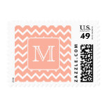 Coral Pink and White Chevron with Custom Monogram. Stamps