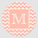 Coral Pink and White Chevron with Custom Monogram. Stickers