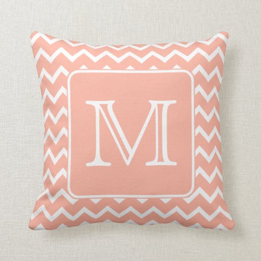 Coral Pink Throw Pillows : Coral Pink and White Chevron with Custom Monogram. Throw Pillow Zazzle