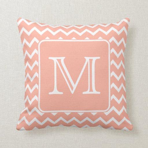 Coral Pink and White Chevron with Custom Monogram. Throw Pillow Zazzle