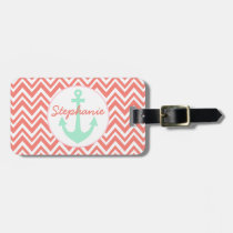 Coral Pink and White Chevron with Mint Nautical Luggage Tag
